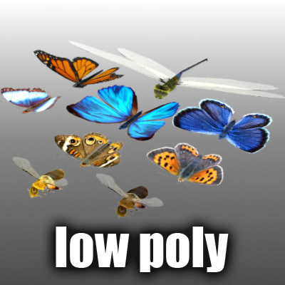 flying insects butterfly animation 3d model