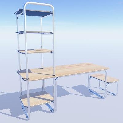 computer desk shelf 3ds