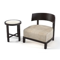Poliform Low Chair small wooden back round side table