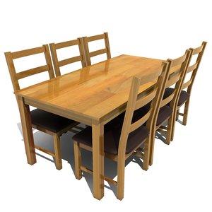 atlanta dining set table chairs 3d model