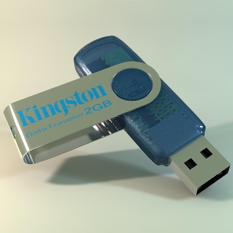 usb kingston 3d model