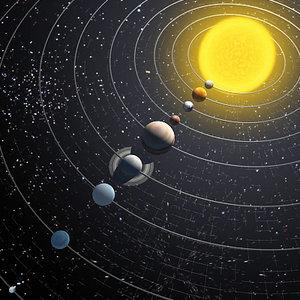 solar planet orbiting 3d model