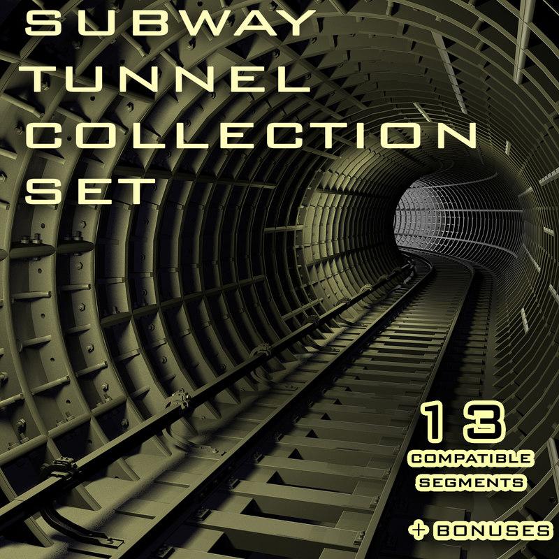 3d set subway tunnel model