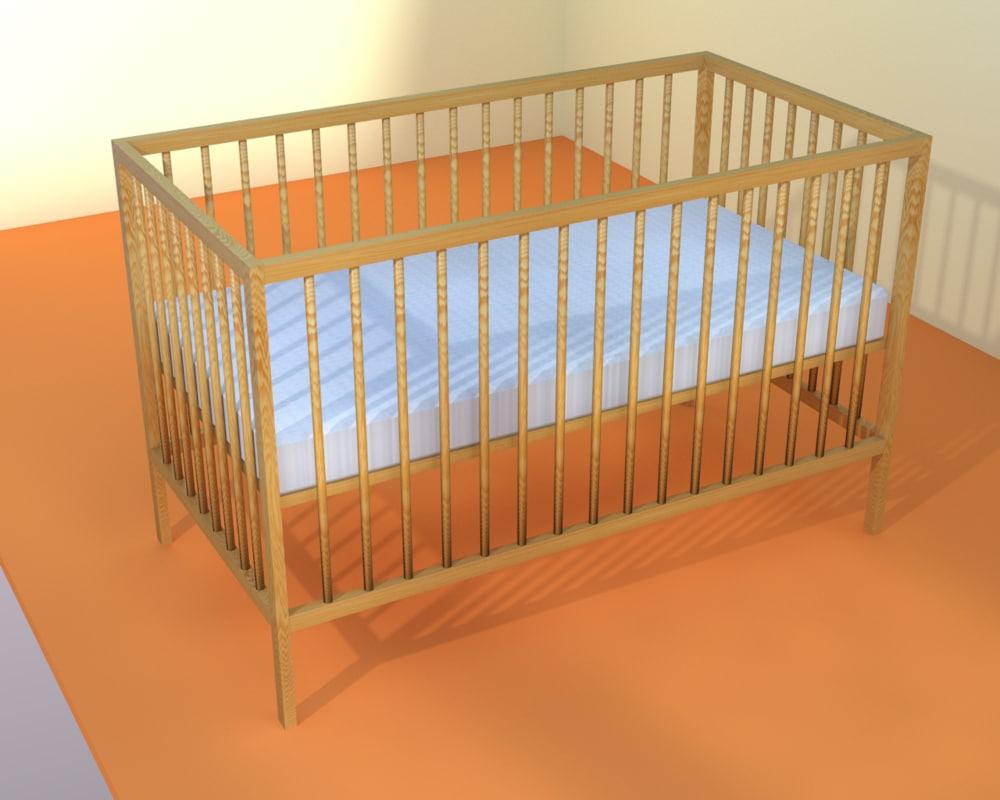 3d model simple children bed