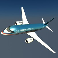 sukhoi superjet jet 3d model