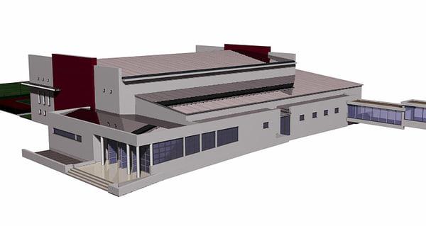 university sports hall 3d model
