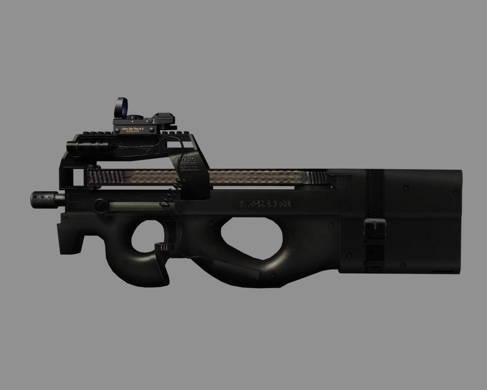 p90 fn gun 3d model