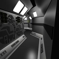 3d 3ds scifi starship hallway