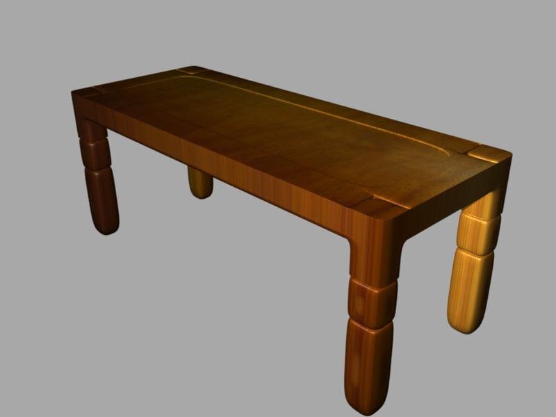 3d wood table model