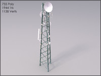 Telecom Tower, Textured, Low Poly