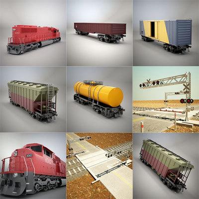 railroad crossing train 3d model