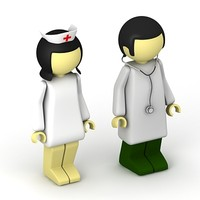 3d doctor nurse man model