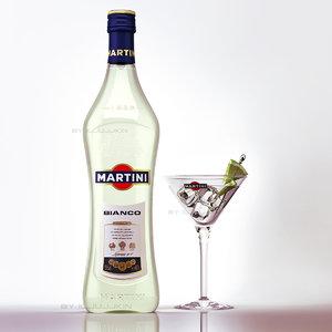 martini bianko glass 3d max