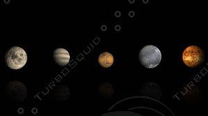 moon jupiter mars pluto 3d model