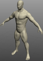 muscled male figure 3d 3ds