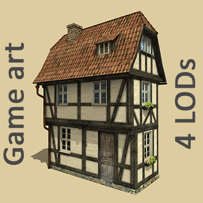 old fachwerk house 4 3d max