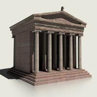 3d small roman temple model