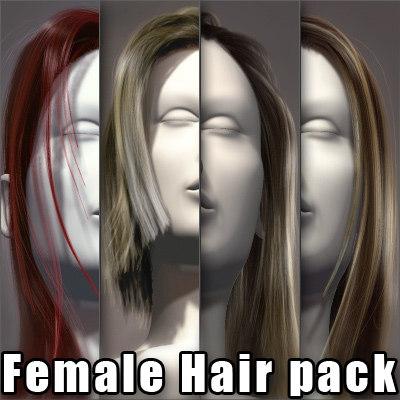 female head hairs pack 3d model