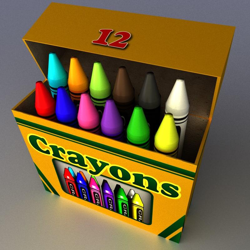 3d crayons box model