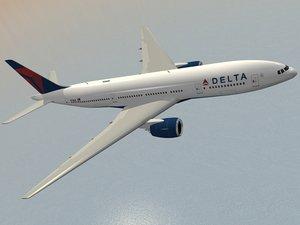 b 777-200 airliner delta 3d model
