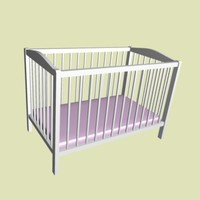 3d model baby bed purple