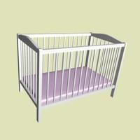 3d model baby bed purple