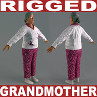 grandmother v6 rigged 3d max