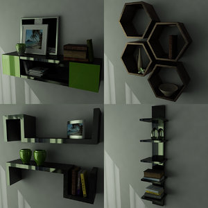 shelves books magazines 3ds