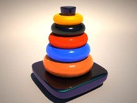 toy tower hanoi 3d model
