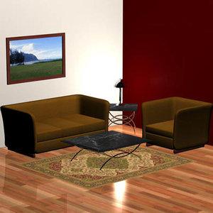 3d model of 1930 s living room