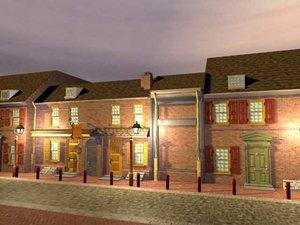 old american houses buildings 3d model
