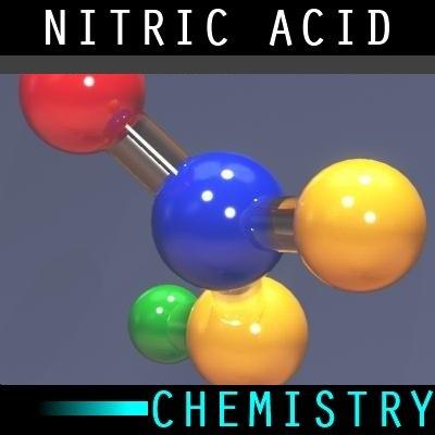 molecule nitric acid 3d model