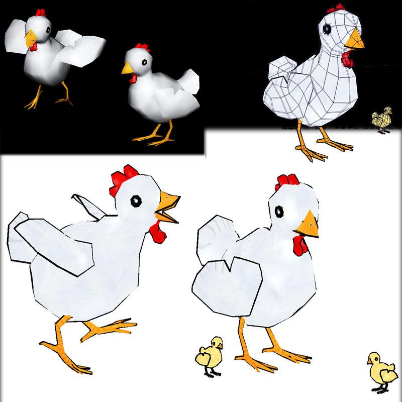 chicken chic 3d fbx