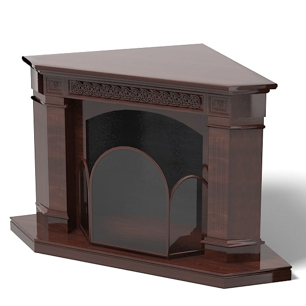 3d model fireplace corner classic