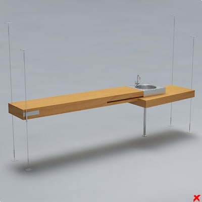 3d model desk kitchen