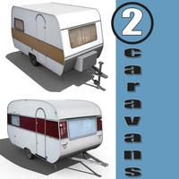 2 old caravans 3d model