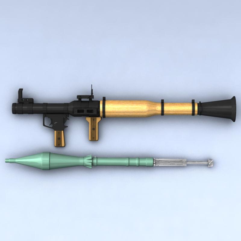rpg-7 rocket 3d model