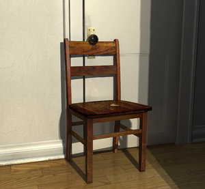 old wooden chair 3d 3ds