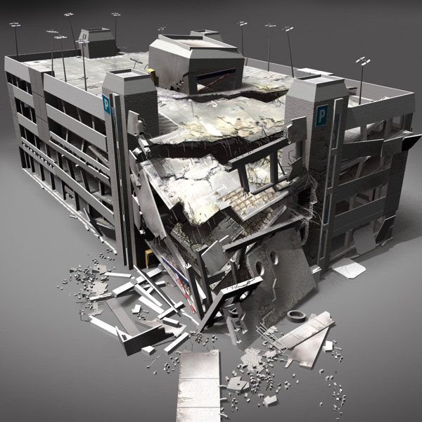 Destroyed building 09 damaged 3d max for 3d garage builder