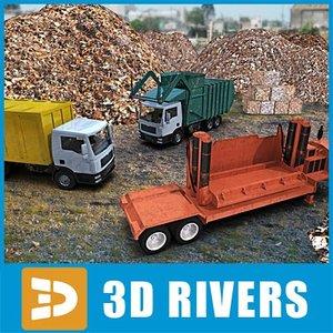 landfill trucks 3d model