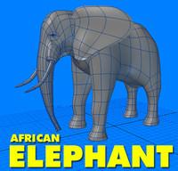 adult african elephant 3d obj