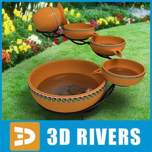 3d model of ceramic tier fountain water