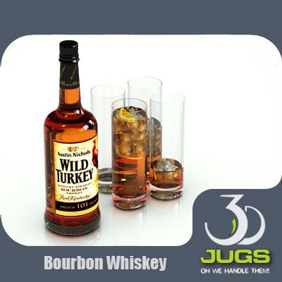 wild turkey bourbon whiskey bottle 3d model