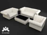 chesterfield style furniture 3d model