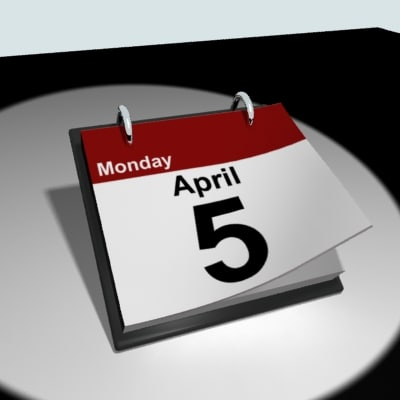 3d desktop calendar model