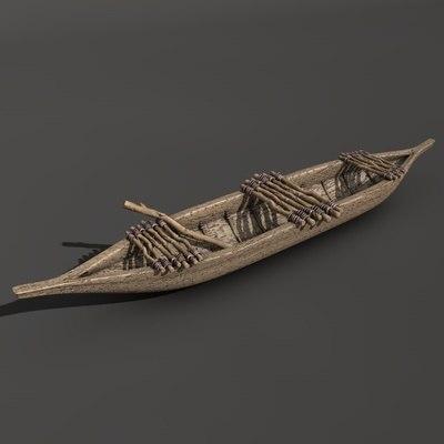 prehistoric tribal canoe 3d model