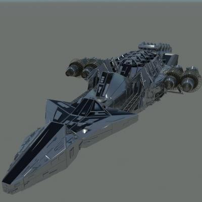 3d large space ship