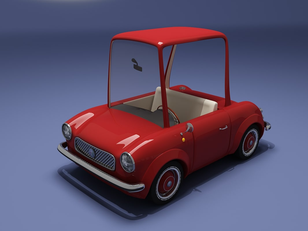 red cartoon car 3d model