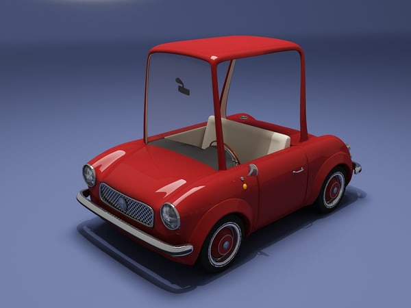red cartoon car 3d model
