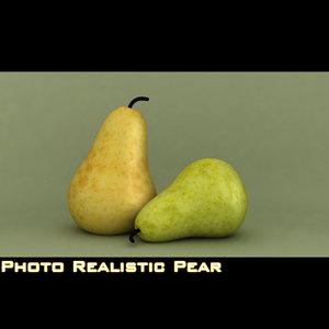 3d photo realistic pear model